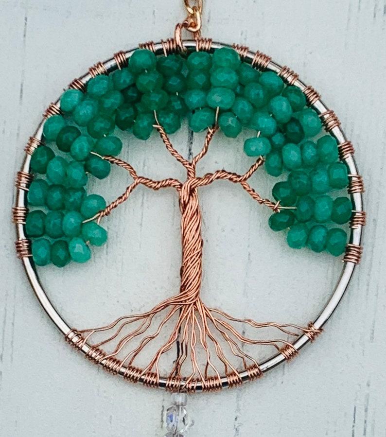 Gemstone Tree Of Life Suncatcher,Crystal Window Ornament,Green Aventurine Tree Sun Catcher,Gemstone Family Tree,Birthstone Spiritual Healing