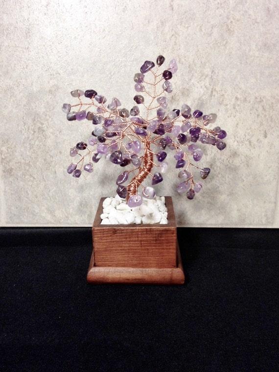 Amethyst Crystal Gemstone Bonsai Tree Of Life,Feng Shui,Wire Art Decor,Healing Gemstone Tree Sculpture,Gemstone Decor,February Birthstone