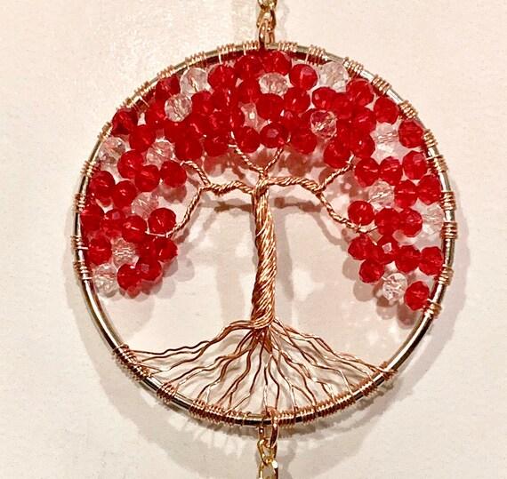 Crystal Sun Catcher Tree Of Life Window Ornament,Feng Shui Healing,Gemstone Suncatcher,Rainbow Maker,Art Home Decor,Amethyst,Glass Hanging