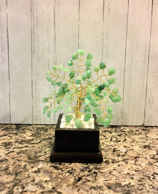 Gemstone Wire Bonsai Tree Of Lifestone Sculpturetwisted Wiring A Treegreen Adventurine Healing Stonesmoney Treegemstone Crystal Decor