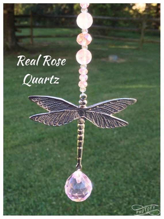 Crystal Rear View Mirror Car Charm,Silver Rose Quartz Dragonfly Window Sun Catcher,Rose Quartz Gemstone Sun Catcher,New Driver Gift