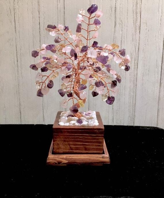 Crystal Gemstone Tree,Wire Bonsai Tree Of Life,Crystal Healing Gem Tree Sculpture,Birthstone Family Tree,Citrine,Amethyst,Rose Quartz