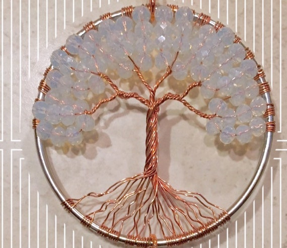 Tree of Life Sun Catcher,Gemstone Window Ornament,Healing Crystal Gemstones Hanging,Feng Shui Suncatcher,Rainbow Maker,Moonstone Life Tree