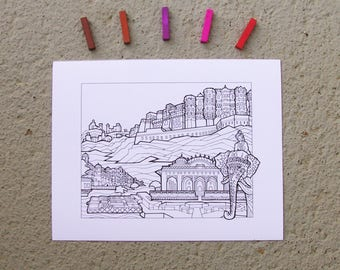 Rajasthan, India - DIY Color-Your-Own Art Print - 11 by 14 Illustration Pen and Ink Art Print