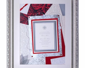 Framed large wedding invitation -  keepsake collage for special occasion or life milestone