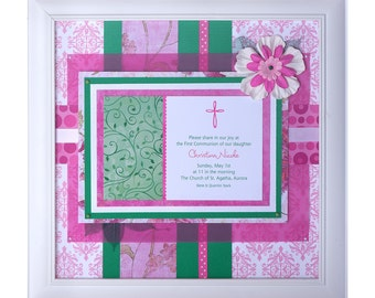 First communion keepsake -  framed invitation collage is a special gift for special occasion or religious milestone