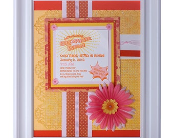 Framed birth announcement for baby girl -  gift keepsake collage for special occasion or life milestone
