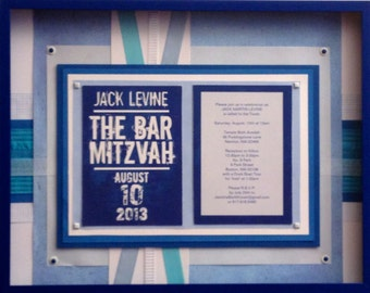 Framed bar mitzvah invitation small -  keepsake collage for special occasion or life milestone