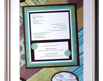 Framed bar mitzvah invitation large -  keepsake collage for special occasion or life milestone