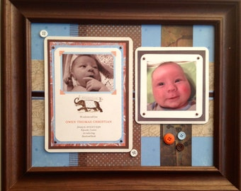 Framed birth announcement for baby boy  -  gift keepsake collage for special occasion or life milestone