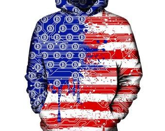 USA Bitcoin Flag Hoodie   Rave, EDM, Festival Hoodie