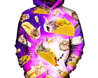 Give Me Tacos Cat Purple Hoodie   Rave, EDM, Festival Hoodie