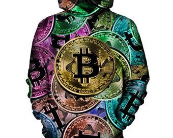 Bitcoin Pattern Hoodie   Rave, EDM, Festival Hoodie