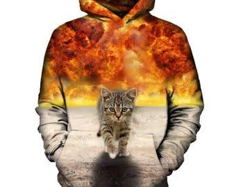 Cat Walking From Explosion Hoodie   Rave, EDM, Festival Hoodie