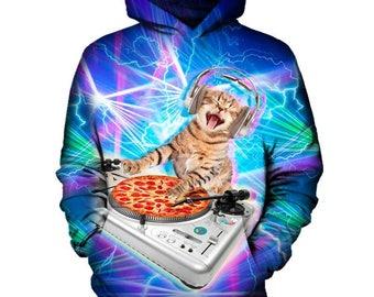 The DJ Kitty Hoodie   Rave, EDM, Festival Hoodie