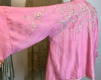 Vibrant Pink 1920s Cherry Blossom Embroidered Robe / Kimono
