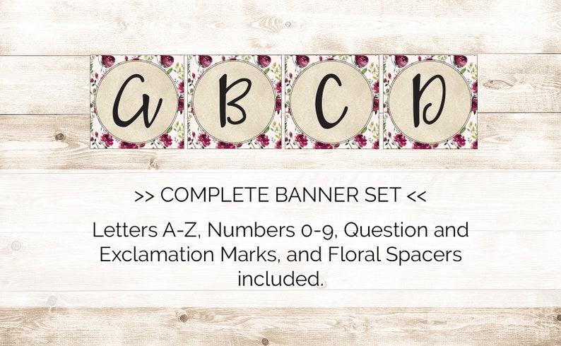 Digital File Instant Download Printable Floral Banner Burgundy Florals Fall Floral Printable Banner Bridal Shower Banner