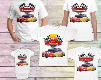Cars Birthday Shirt Lightning Mcqueen Family Tshirt Matching Shirts Mommy Party Daddy