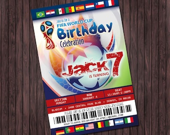 Soccer FIFA World Cup #2 Printable Birthday Party invitation - custom diy printable