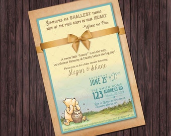 Classic Winnie the Pooh Baby Shower #2 printable invitation - custom diy