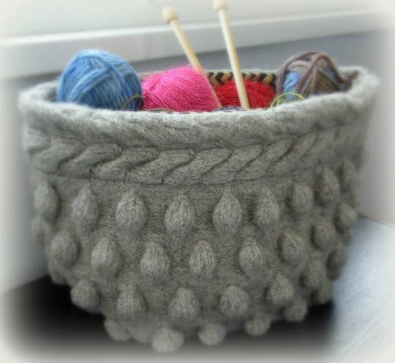 Pdf Pattern Felted Wool Basket Knit Felt Storage Basket Etsy