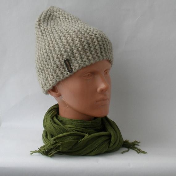 284730b623c Winter Slouchy hat Vegan beanie Chunky merino knit Unisex cap