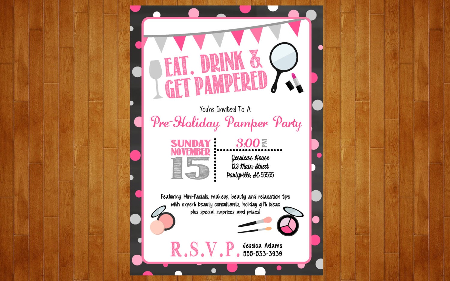 Make Up Party Invitation Or Lingerie Bachelorette Spa Pamper Invitation Mary Kay Avon Party Invitation Pink And Black Invite Digital File