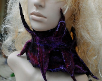 Blind Witch Style Spikey Felt Necklace Neckcuff  Black and Purple Halloween Neckerchief Adjustable Nuno Felted Wool Cowl Scarf Neck Cuff