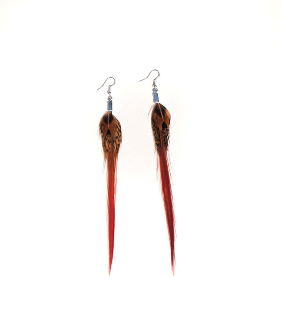 Real Feather Earrings Natural  feathers small bunch design Natural Pheasant Feather Earrings Brown and Tan Colour Feather Earrings Barred
