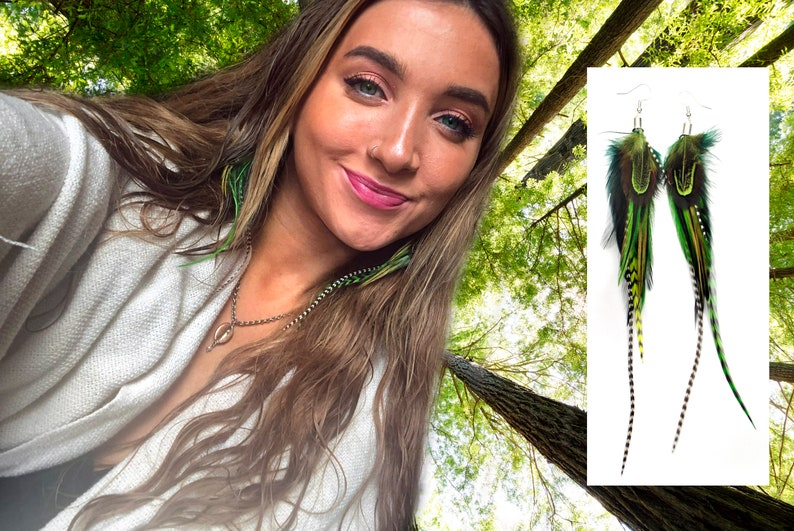 Fresh Green Feather Earrings Choice of Lengths Boho Earrings Woodlands Theme Real Feather Earrings Long Drop Feather Earrings Statement