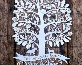 Personalised Family Tree Papercut Template Christmas Gift PDF Jpeg SVG from Samantha's Papercuts