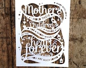 PRINTED Papercut Template 'Mother's Hold Their Childrens Hands' Mother's Day, Mum, cut your own papercut