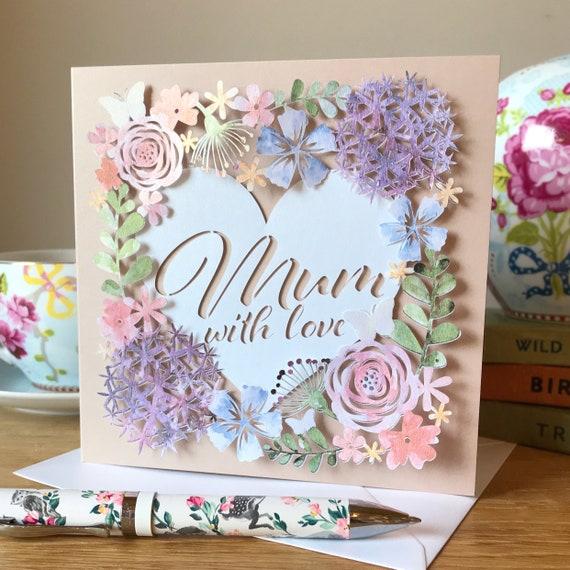 """""""給媽媽的愛""""花卉剪紙母親節祝福賀卡"""