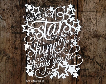 Original Unframed Papercut  'Look at the Stars' by Samantha's Papercuts