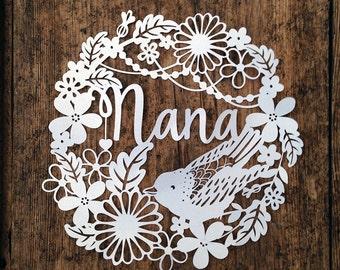 Papercut Template Nana / Nan Mother's Day Birthday PDF Jpeg SVG Make Your Own DIY Celebration Papercut Card from Samantha's Papercuts
