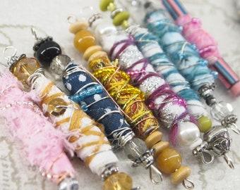 Pack of 5 Boho Beads, Journal Beads, Junk Journal Ephemera, Handmade Beads, Beaded Keyring, Random Bundle, Mystery Bag, Lucky Dip