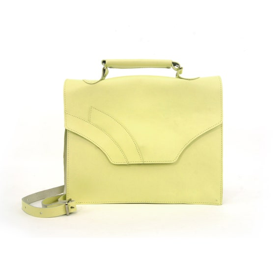 Vintage Pastel Lime Green Structured Leather Bag |