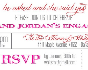 He asked and she said Yes Engagement Party Invite