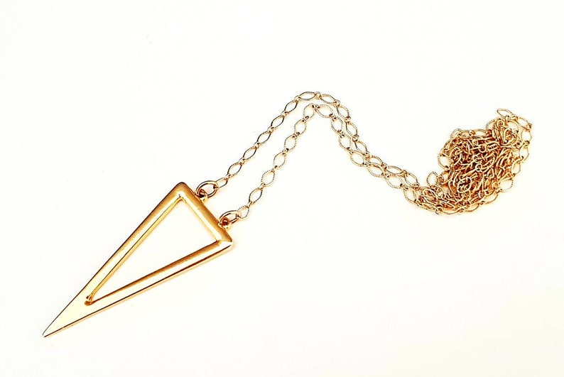 Long gold statement necklace triangle pendant necklace