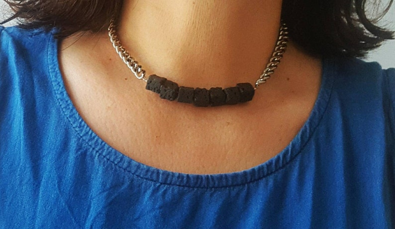 Silver statement necklace black lava beads necklace black lava beads choker necklace