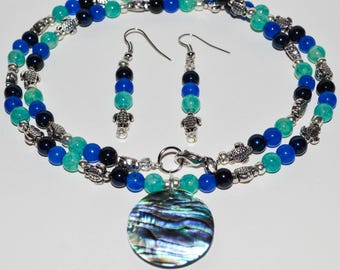 Green and Blue Turtle Necklace and Earring set