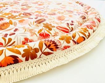 NATIVE Bouquet FLORAL PlayMat, Round baby Play Mat, Flower Print, Hippy nursery, Roundie, Round Rug, Floral Nursery, Retro baby Blanket,