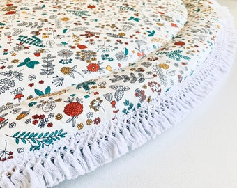READY To SHIP! Forest Floor Ivory BABY Play Mat, Extra Large Rug, Flower Play Mat, Playmat, Pretty Nursery, Floral Print, Baby shower gift
