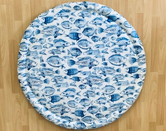 XL, Weatherproof, Blue and White, fish print, under the sea print, Round baby play mat, fringe rug, extra large baby mat, big Rug, twin gift