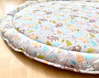 XL, READY to SHIP! Fox & Bear Play Mat, Extra Large Mat, Woodlands Play Mat, Padded Playmat, Roundie, Baby Gift, Animal Print, Baby Shower