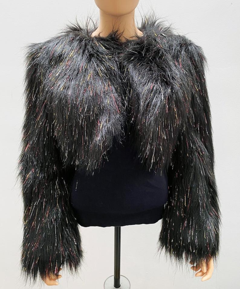 Black Rainbow Tinsel Faux Fur Bolero Jacket
