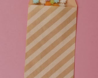 Striped paper bags, 10 count, kraft & white