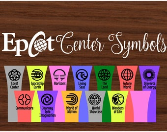 Vintage EPCOT Symbols - Walt Disney World -  Magic Band Decals - fits 1.0 and 2.0