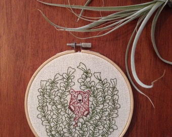 Curious Bear in the Forest Embroidery Hoop Wall Art