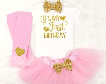 its my first birthday babys first birthday outfit baby girls first birthday outfit pink and gold first birthday outfit 1st birthday outfit